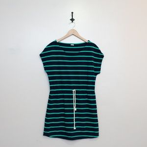 J. Crew Navy Green Stripe dress swim cover up M